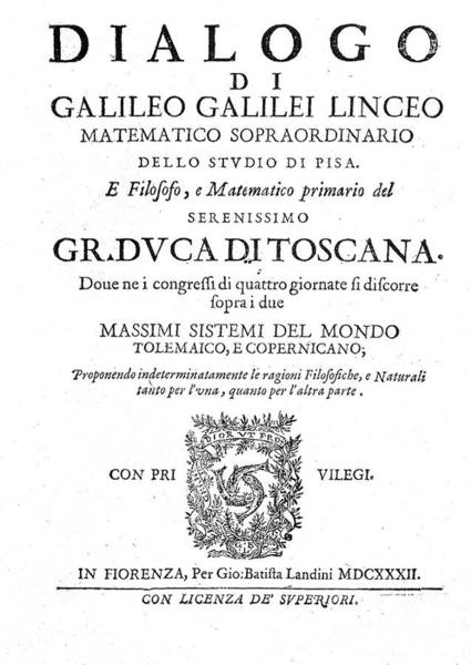 Dialogue Photograph - Frontispiece From Galileos Dialogue by Wellcome Images