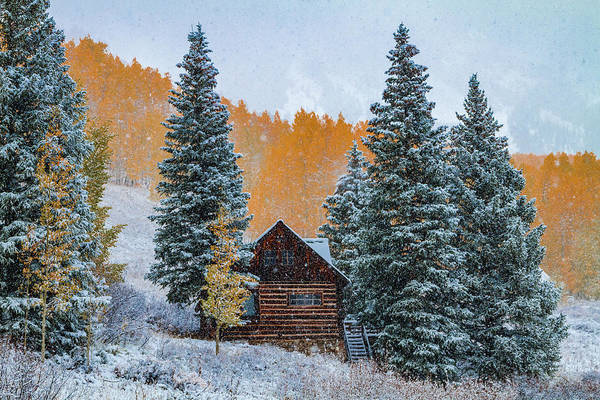 Photograph - Frosty Autumn Mountain Cabin by Teri Virbickis