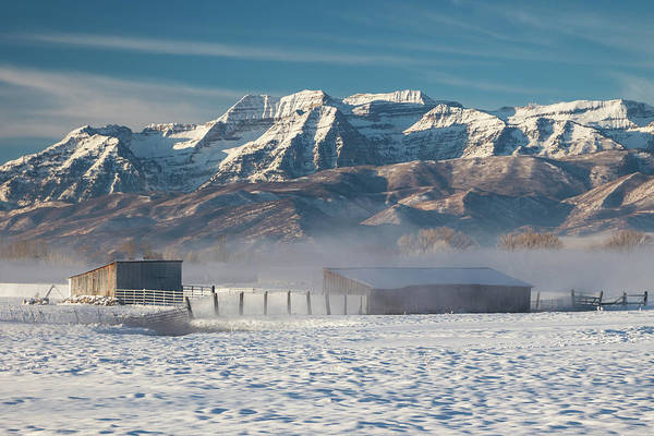 Wall Art - Photograph - Frosty Barns With Timpanogos. by Johnny Adolphson