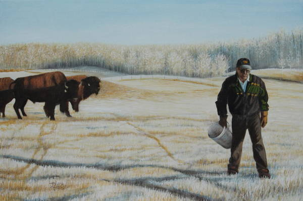 Painting - Frosty Feeding by Tammy Taylor
