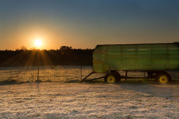 Photograph - Frosty John Deere Sunrise by James Hennis