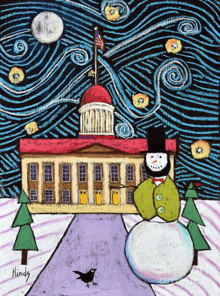 Springfield Illinois Wall Art - Pastel - Frosty Lincoln by David Hinds