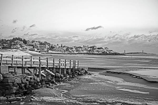 Photograph - Frosty Morning On Good Harbor Beach Gloucester Ma Black And White by Toby McGuire