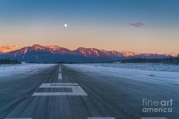 Seaplanes Photograph - Frosty Petersburg Runway And Full Moon by Mike Reid