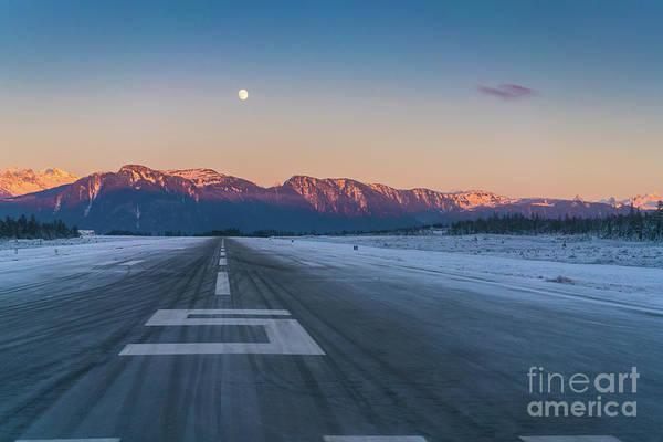 Petersburg Photograph - Frosty Petersburg Runway And Full Moon by Mike Reid