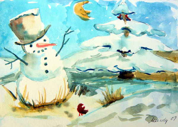 Evergreen Trees Drawing - Frosty The Snow Man by Mindy Newman