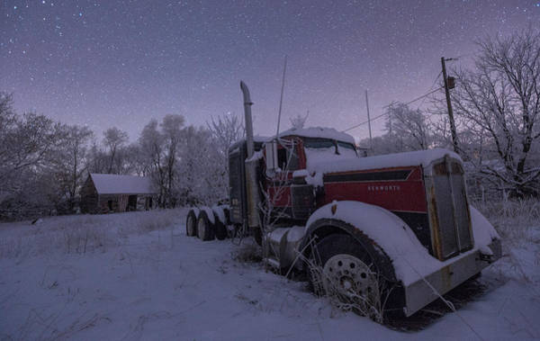 Semi Truck Photograph - Frozen Big Rig by Aaron J Groen