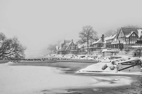 Wall Art - Photograph - Frozen Boathouse Row In Philadelphia In Black And White by Bill Cannon