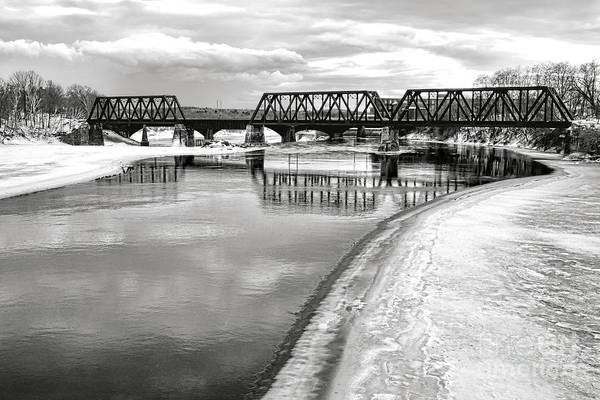 Photograph - Frozen Kennebec River And Railroad Bridge In Waterville by Olivier Le Queinec