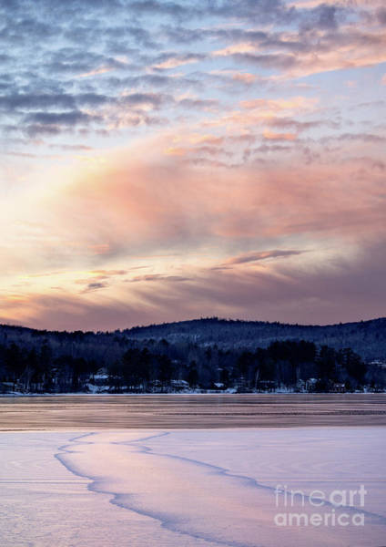 Photograph - Frozen Lake Sunset In Wilton Maine  -78096-78097 by John Bald