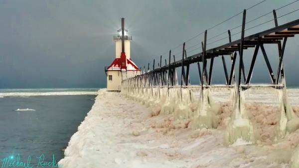 Lighthouse Wall Art - Photograph - Frozen Lighthouse by Michael Rucker