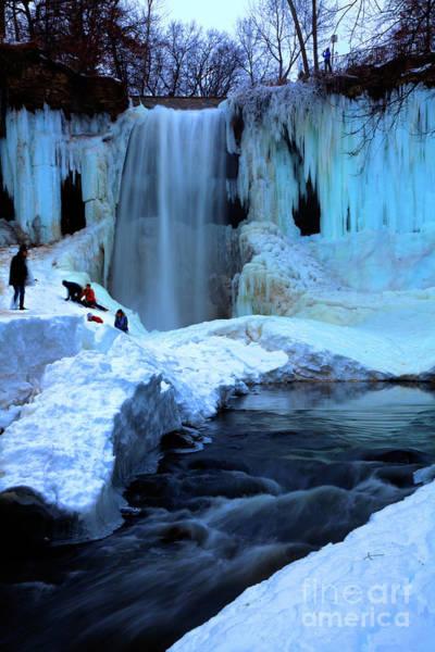 Photograph - Frozen Minnehaha Falls Minneapolis V by Wayne Moran