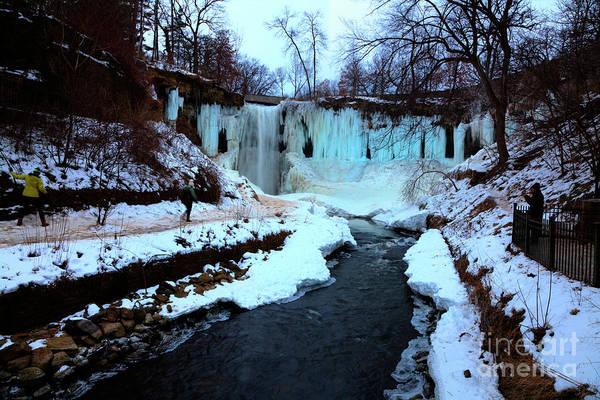 Photograph - Frozen Minnehaha Falls Minneapolis  by Wayne Moran