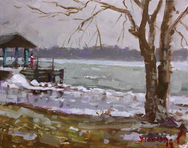 Deck Painting - Frozen Niagara River by Ylli Haruni
