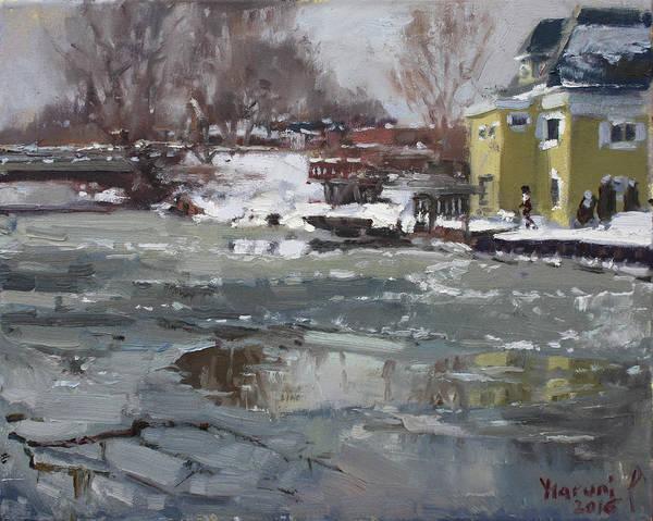 Frozen Wall Art - Painting - Frozen Cayuga Creek by Ylli Haruni