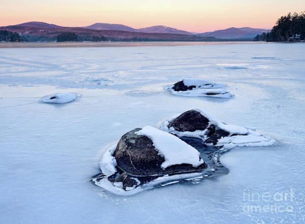 Photograph - Frozen Sunrise, Wilson Lake, Wilton, Maine  -88120-88122 by John Bald