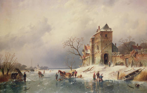 Charles River Wall Art - Painting - Frozen Winter Scene by Charles-Henri-Joseph Leickert