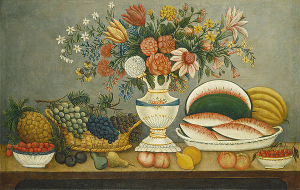 Painting - Fruit And Flowers by American Mid 19th Century