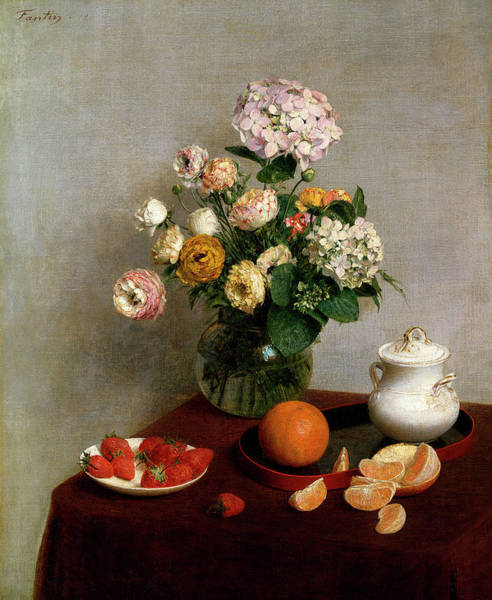 In Service Painting - Fruit And Flowers by Henri Fantin-Latour