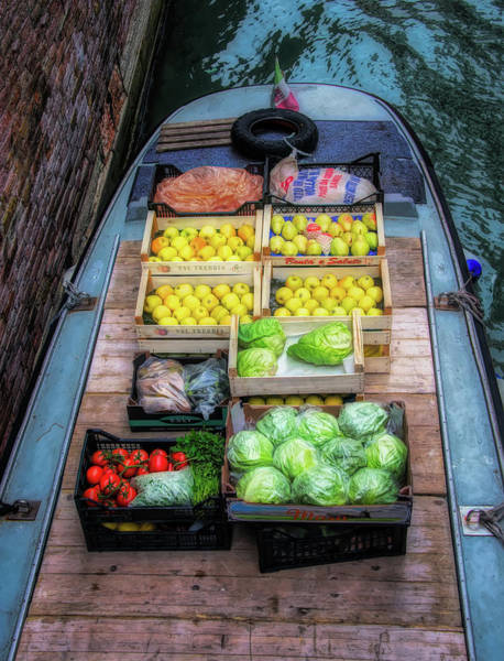 Photograph - Fruit And Vegetable Barge In Venice by Gary Slawsky