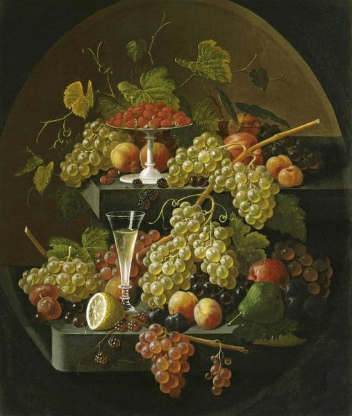 Food Groups Painting - Fruit And Wine Glass by Severin Roesen