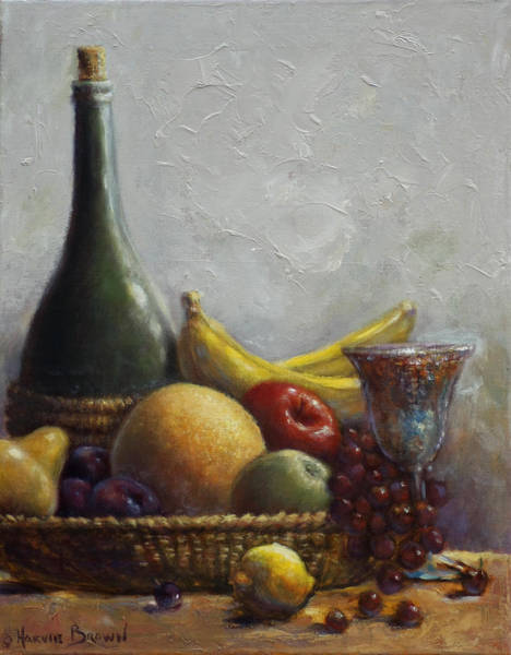 Goblets Wall Art - Painting - Fruit Basket by Harvie Brown