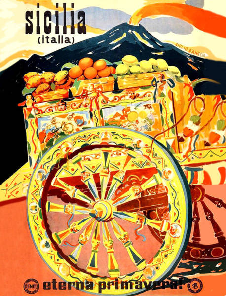 Carriage Painting - Fruit Carriage From Sicily by Long Shot