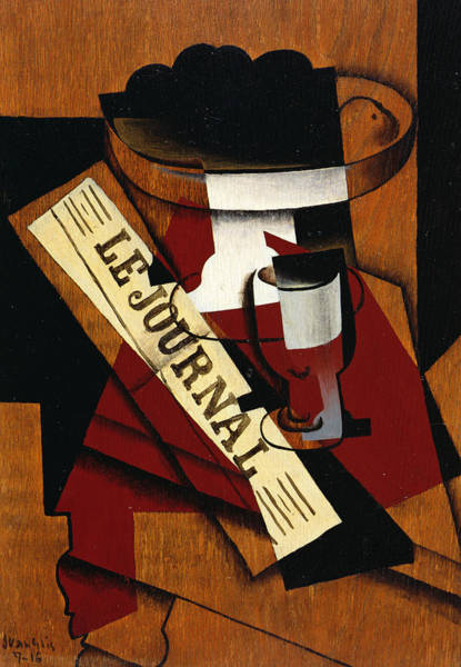 Wall Art - Painting - Fruit Dish Glass And Newspaper by Juan Gris