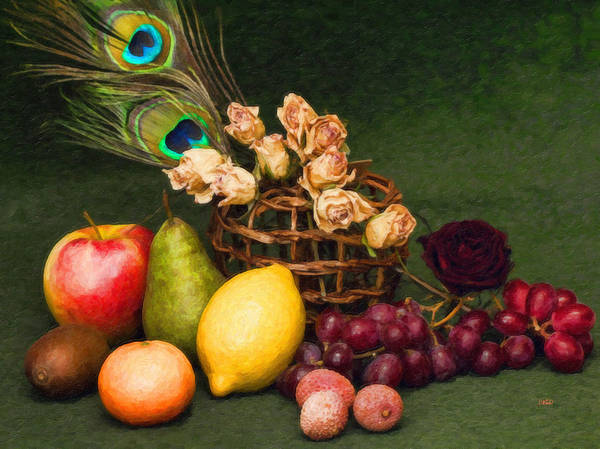 Painting - Fruit Dried Roses And Peacock Feather Still Life Stl646674 by Dean Wittle