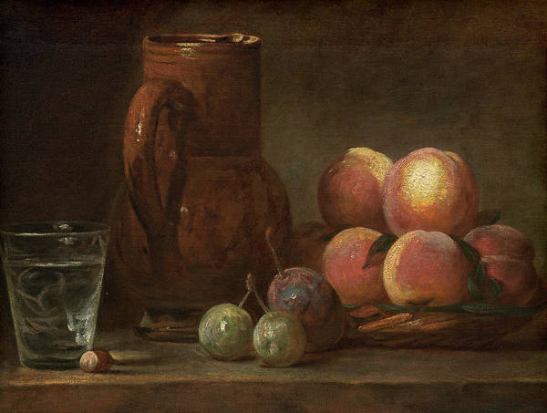 Painting - Fruit, Jug, And A Glass by Jean Simeon Chardin