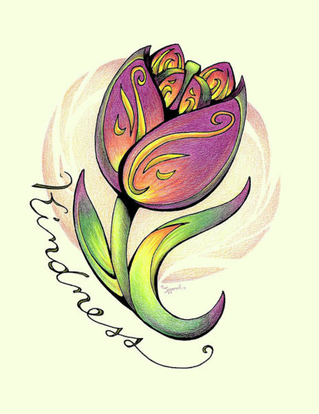 Garden Wall Drawing - Inspirational Flower Tulip by Sipporah Art and Illustration