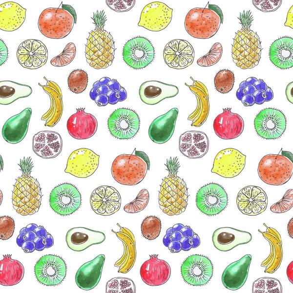 Avocado Mixed Media - Fruit Pattern  by Katerina Kirilova