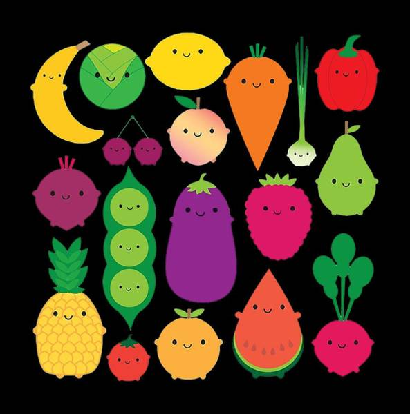 Vegan Drawing - Fruit Vegetables by Illone Lalal