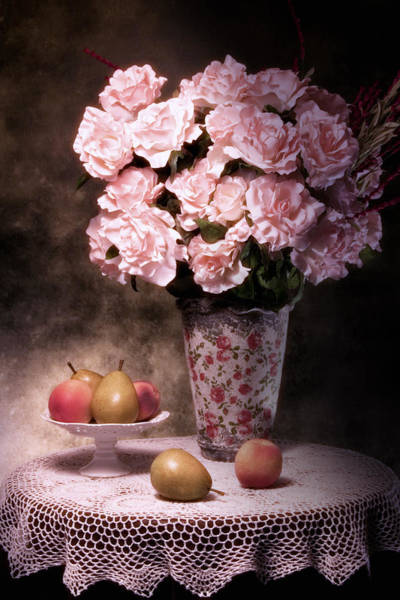 Floral Arrangement Photograph - Fruit With Flowers Still Life by Tom Mc Nemar