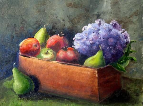 Wall Art - Painting - Fruit With Hydrangea by Patricia Caldwell