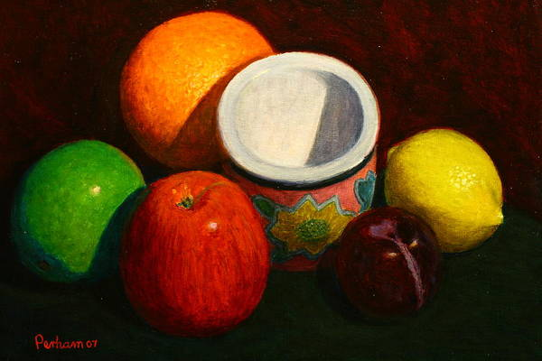 Nz.impressionist Painting - Fruit With Small Planter by Terry Perham
