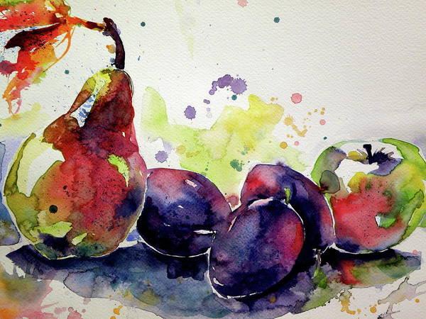 Plums Painting - Fruits Cd by Kovacs Anna Brigitta