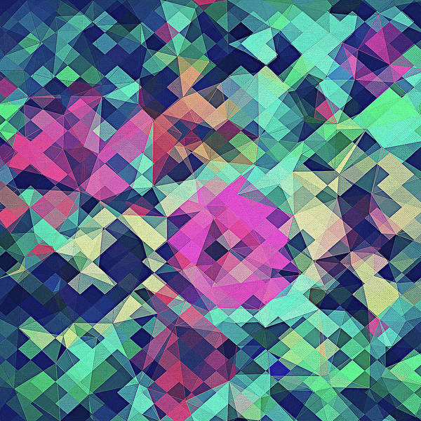 Abstract Rose Digital Art - Fruity Rose   Fancy Colorful Abstraction Pattern Design  Green Pink Blue  by Philipp Rietz