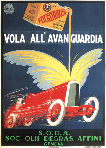 Vintage Automobiles Mixed Media - Fucgoroceo Vola All'avanguardia - Engine Oil - Vintage Advertising Poster by Studio Grafiikka