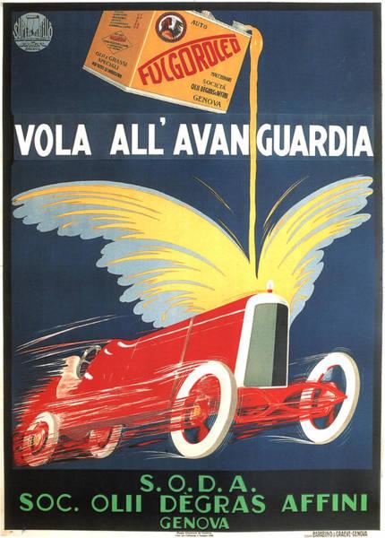 Wall Art - Mixed Media - Fucgoroceo Vola All'avanguardia - Engine Oil - Vintage Advertising Poster by Studio Grafiikka