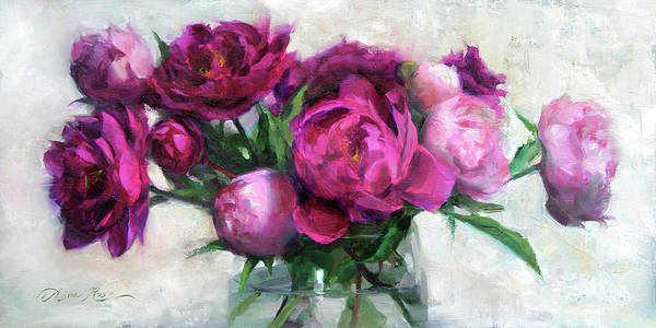 Still-life Painting - Fuchsia And White by Anna Rose Bain