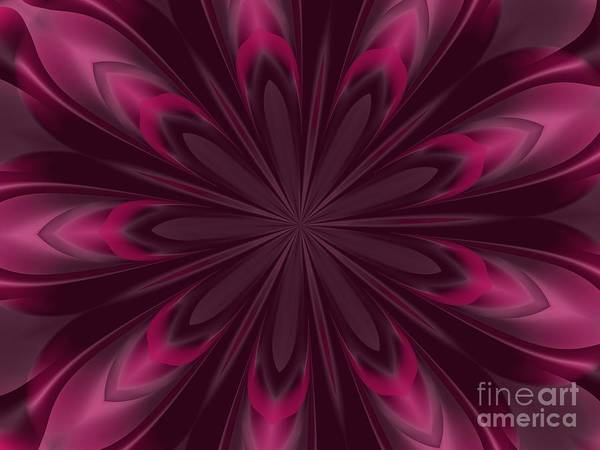 Digital Art - Fuchsia Pink Satin Shadows Fractal Abstract Kaleidoscope Mandala K07 by Rose Santuci-Sofranko