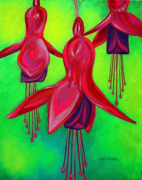 Wall Art - Painting - Fuchsia Trio by John  Nolan