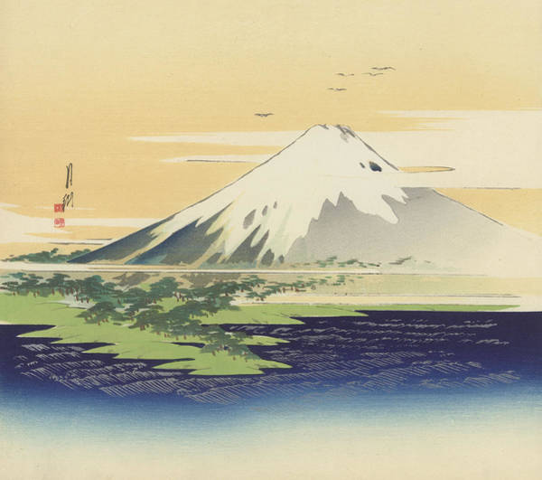Far East Painting - Fuji From The Beach At Mio by Ogata Gekko
