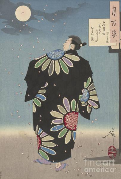 Full Moon Painting - Fukami Jikyu In Moonlight,1887 by Tsukioka Yoshitoshi