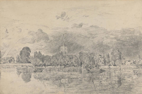 Drawing - Fulham Church From Across The River by John Constable