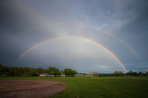 Photograph - Full Double Rainbow by Darryl Hendricks
