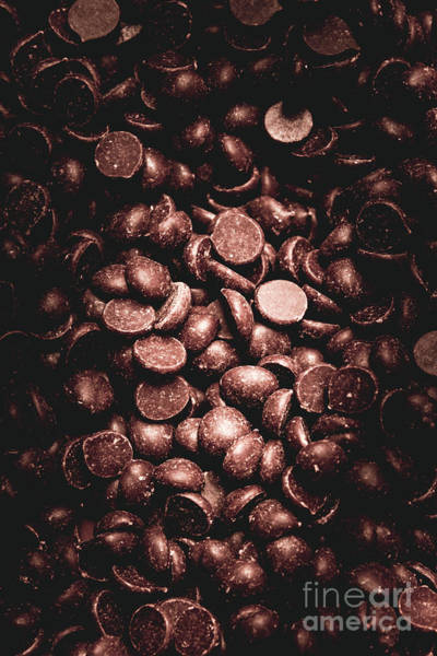 Dark Background Photograph - Full Frame Background Of Chocolate Chips by Jorgo Photography - Wall Art Gallery