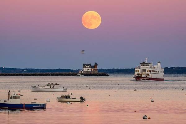 Wall Art - Photograph - Full Hunter Moon Over Rockland Breakwater by Tim Sullivan