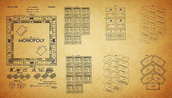 Drawing - Full Monopoly Patent by Dan Sproul
